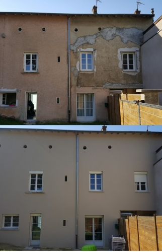 Ravalement d'une Façade en Pisé - Lyon / Francheville